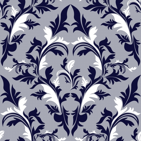 greener: Seamless damask floral Pattern - dark blue and white colors
