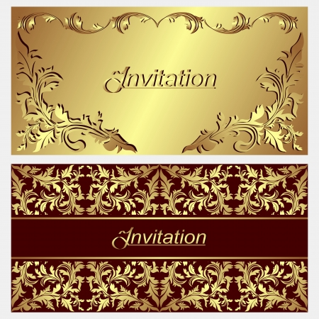 Luxurious invitation Cards with golden ornamental Borders  Vector
