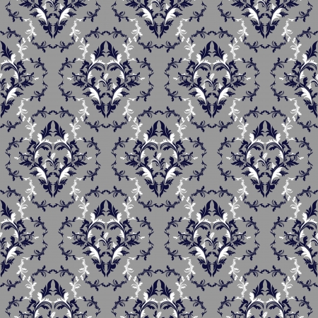 Seamless damask floral Wallpaper - dark blue and white colors   Vector