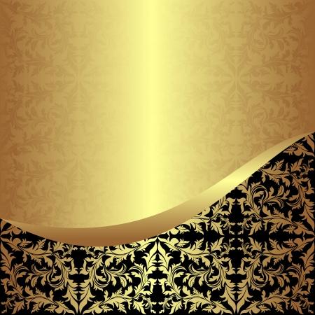 elegante: Lussuoso Sfondo ornamentale dorato con bordo nero