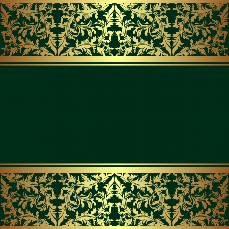 Luxury rifle-green Background decorated a golden ornamental Border   Vector