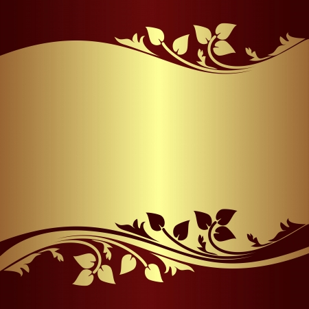 Luxury golden Background decorated Border with floral elements