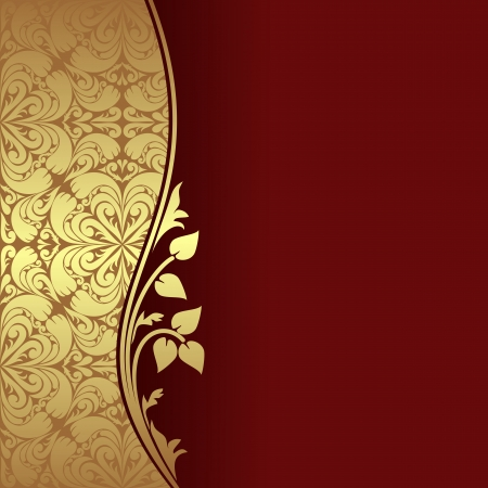 Luxury dark red Background decorated a golden ornamental Border with floral elements