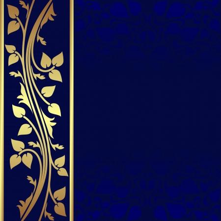 Luxe donker blauwe achtergrond met gouden rand