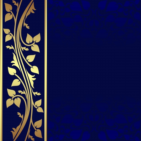 Luxury dark blue Background with golden border   Ilustração