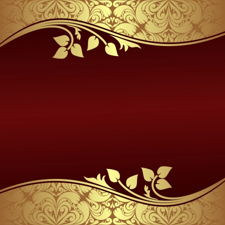 Elegant Background with floral golden Borders   Ilustração