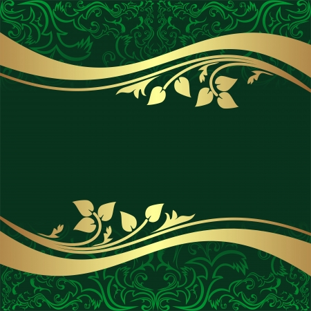 Luxury rifle-green Background with golden floral Borders  Vector