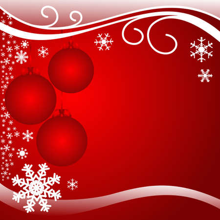 christmas beads: Bright red xmas Background with Balls
