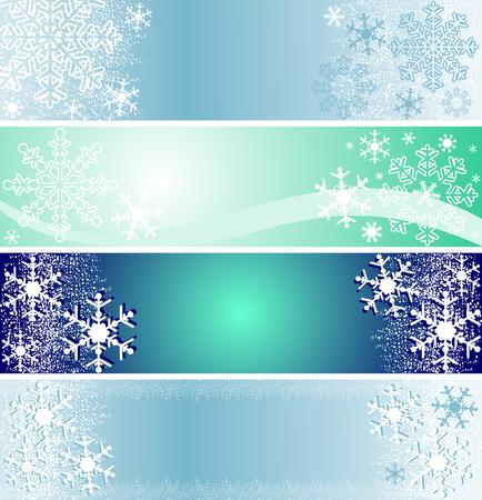 winter season: Set of winter seasonal banners