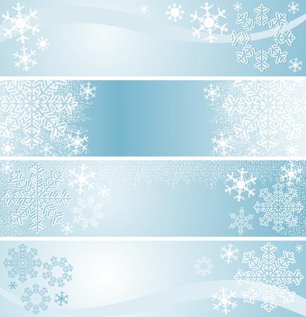 Winter seasonal Banners in blue   Vector