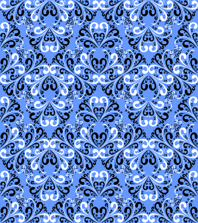 Seamless damask floral Wallpaper on a blue Background   Vector