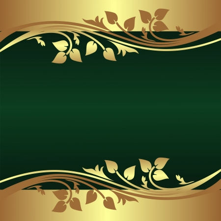 Elegant green Background decorated Border with floral elements