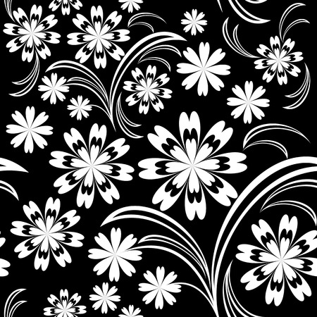 greener: White flower seamless pattern on black Illustration