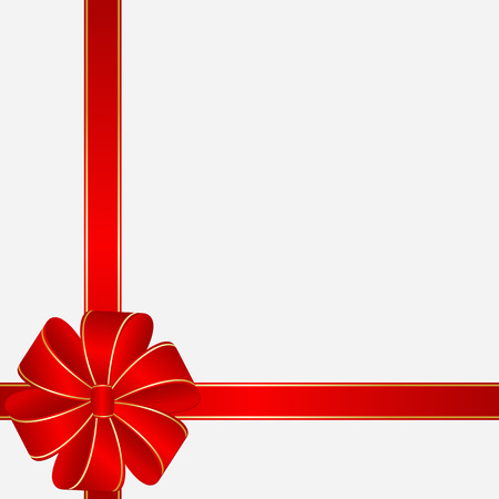 Card Template in the form Gift with red Ribbons and Bow  Illustration