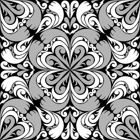 scroll shape: Seamless ornamental Pattern with gray-white Ornament