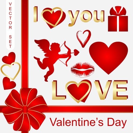 Set with symbols of Valentines Day  Vector