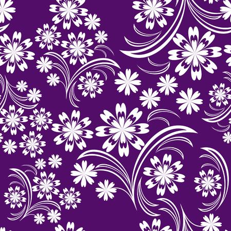 greener: Seamless white flower Pattern on violet   Illustration