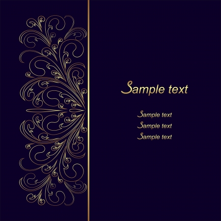 Dark blue Background with golden lacy Border