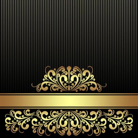 Fondo negro rico con la cinta adorna la frontera real de oro Foto de archivo - 25665469