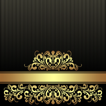 royal rich style: Rich black Background with Ribbon decorated the golden royal Border