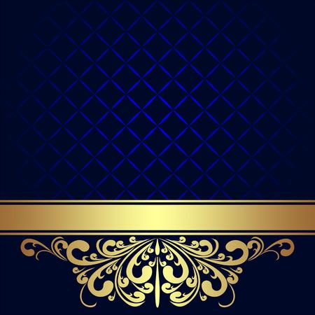 ネイビー ブルーの背景装飾ゴールデン ロイヤル境界線