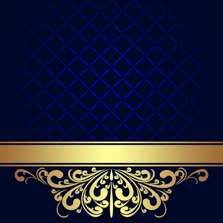 azul marino: Fondo azul marino adornado de la frontera real de oro