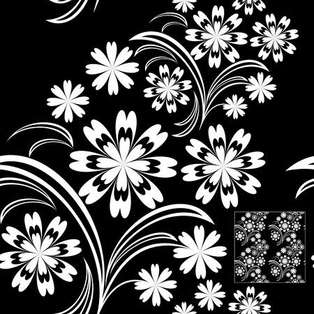 greener: White floral seamless Pattern on black  Illustration
