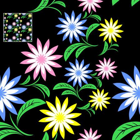 Seamless flower Pattern on black. Illustration