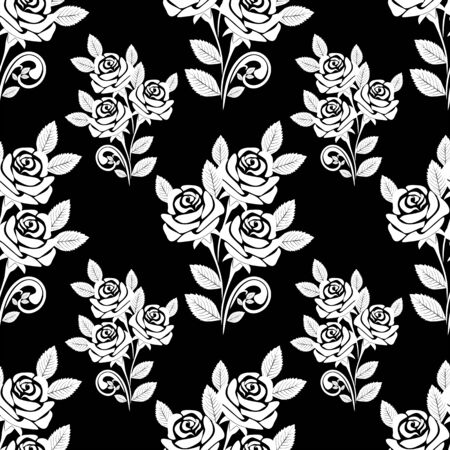 Seamless Pattern with white Roses on the black Background. Vector