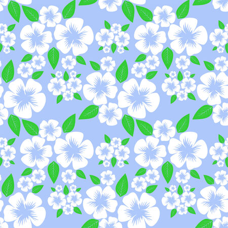 greener: Flower seamless Pattern with white Flowers on blue.