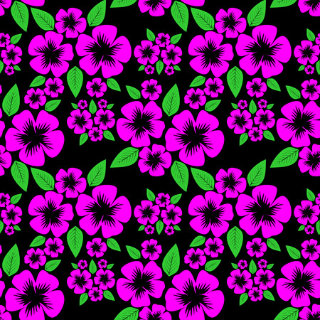 Seamless Pattern with pink Flowers on the black. Illustration