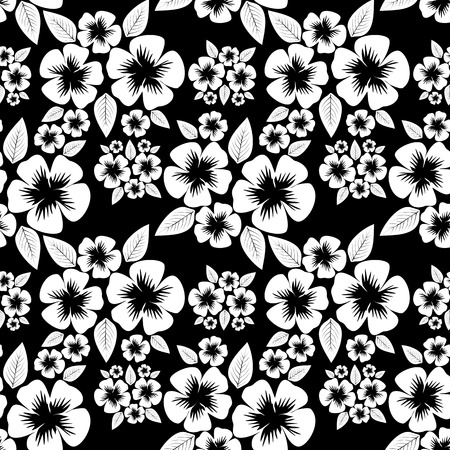Seamless monochrome flower Pattern.