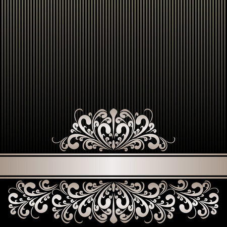 antique wallpaper: Rich black Background with silver Ribbon and royal Border.