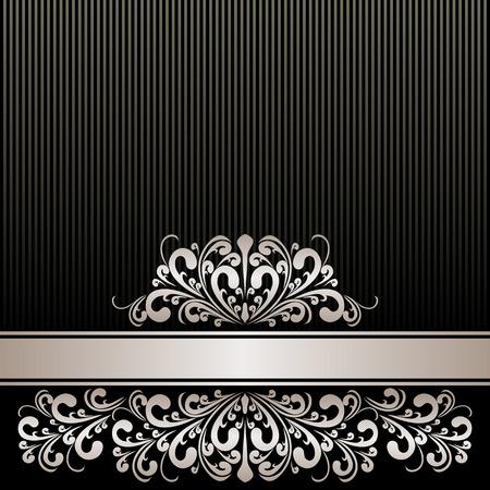 papier peint noir: Rich fond noir avec ruban d'argent et la fronti�re royale.