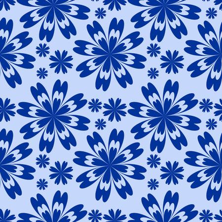 greener: Blue flower seamless Pattern. Illustration