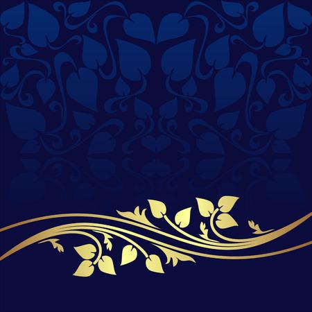 Navy blue ornamental Background decorated a golden floral Border. Stock Illustratie