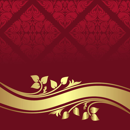royal background: Red ornamental Background with golden floral border.