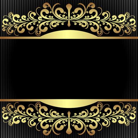 Elegant black Background with royal golden Borders.