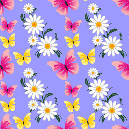 Seamless abstract pattern with Camomiles and Butterflies