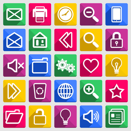 became: Colorful flat icons with long shadows