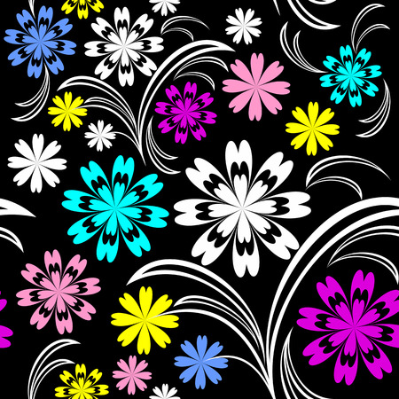 greener: Bright flower seamless pattern with colorful flowers on black.