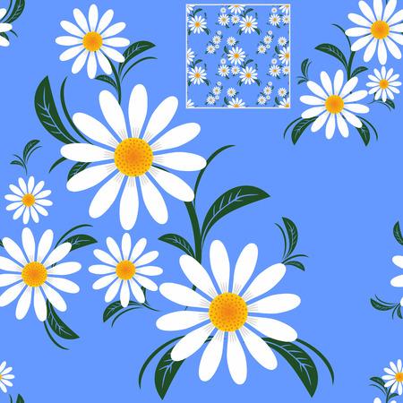 青にカモミールの花のシームレスなパターン。