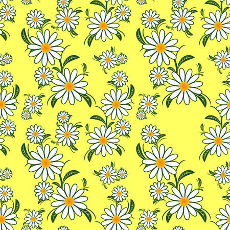 Flower seamless Pattern with Camomiles on yellow.