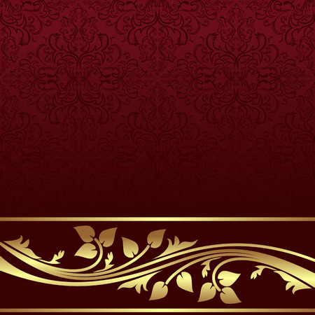 Luxury red ornamental Background with golden floral Border.  Иллюстрация