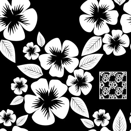 White flower seamless Pattern on black.