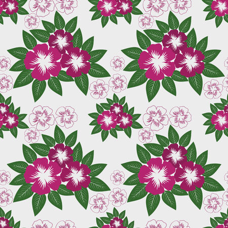Seamless Pattern with pink Flowers on white.  Vector