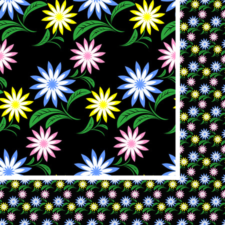 greener: Flower seamless Pattern with colorful flowers on black.  Illustration