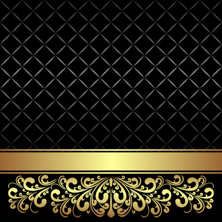 Luxury Background decorated the Vintage ornament and Ribbon: gold and black.