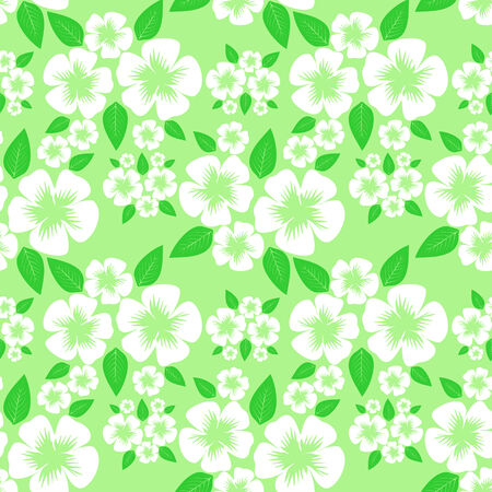 Flower seamless Pattern with white Flowers on green.