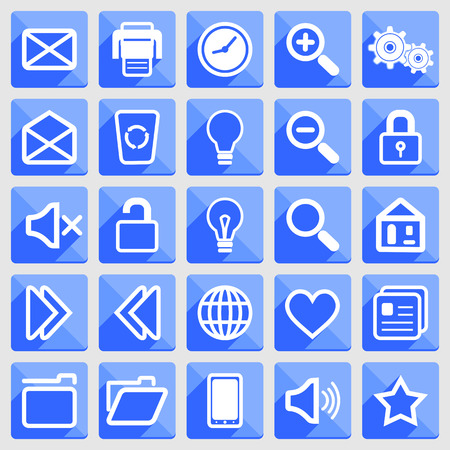 became: Flat icons with long shadows: white on blue.